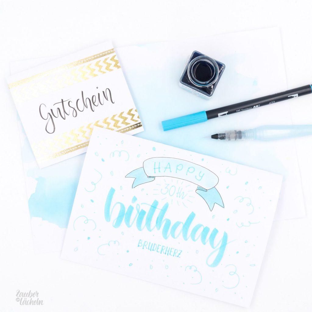 Handlettering Geburtstagskarte und Gutschein von Zauber ein Lächeln.