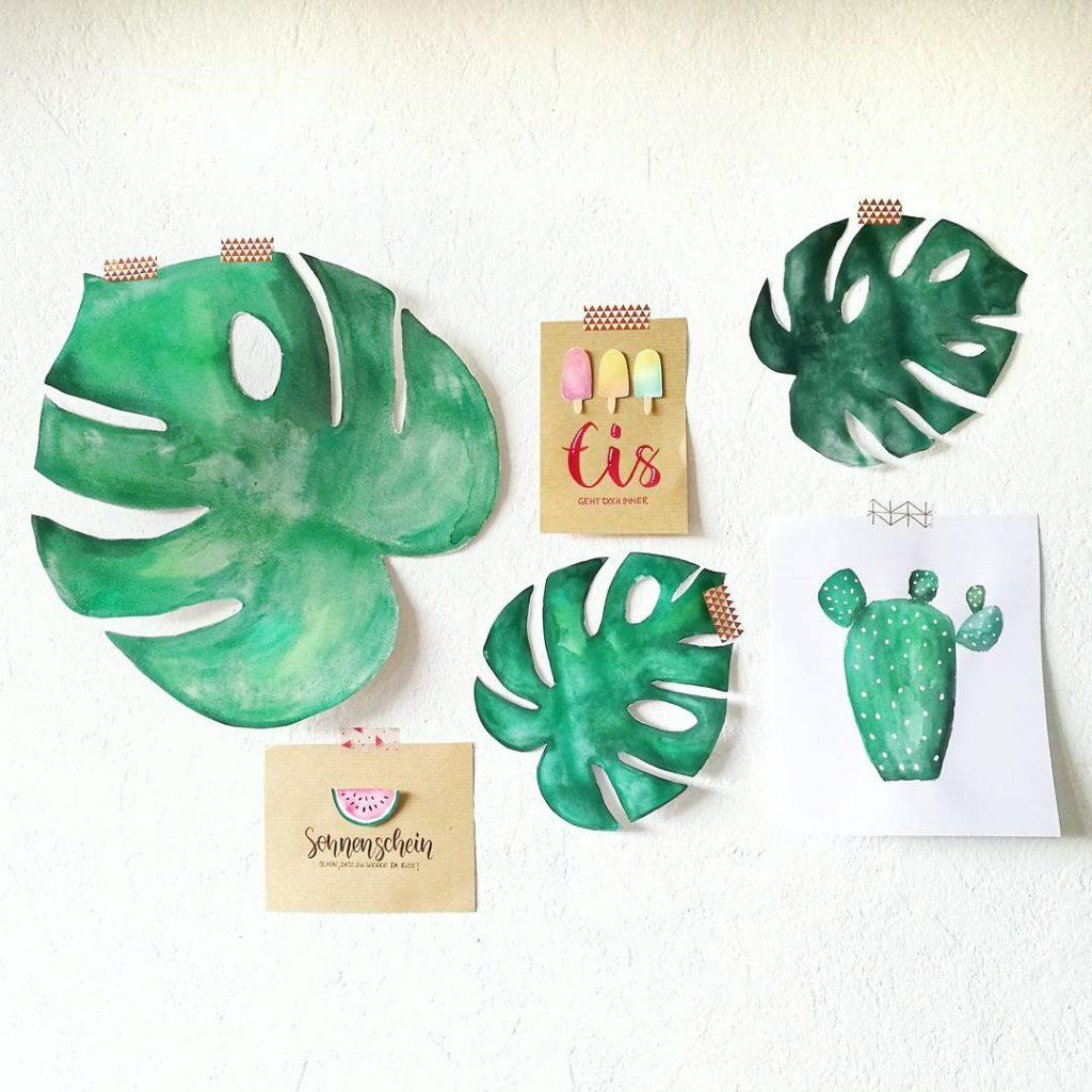 Handlettering und Wasserfarben Bilder Greenery als Wanddeko von Zauber ein Lächeln.