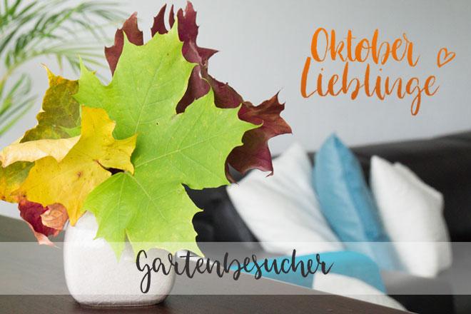 Oktober Lieblinge, Gartenbesucher, Blumenstrauß aus bunten Herbstblättern in Vase