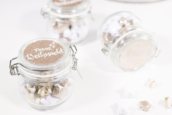 Lucky Stars Anleitung: DIY für einen kleinen Sternengruß im Einmachglas schon verziert mit Lettering