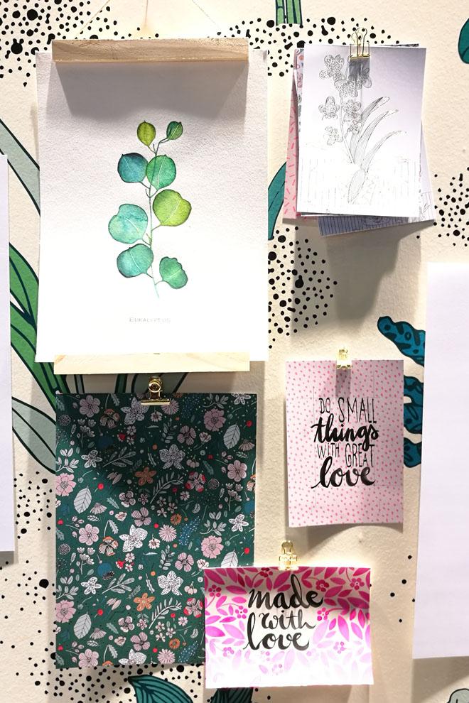 Letterings und Aquarelle auf dem Stand von Rico Design auf der Creativeworld 2018