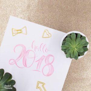 Lettering mit Buntstift hallo 2018 von Zauber ein Lächeln.