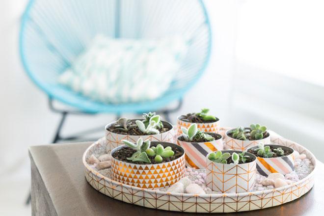 Minigarten basteln mit Teelichtern Schritt für Schritt Anleitung