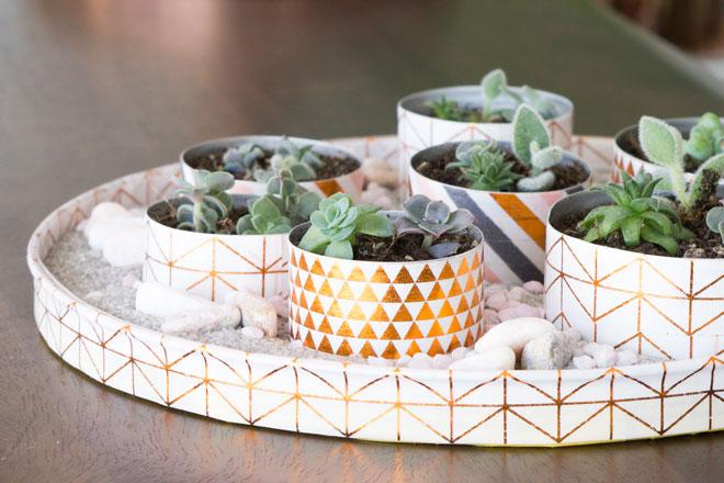 Minigarten basteln mit Teelichtern für winzig kleine Sukkulenten