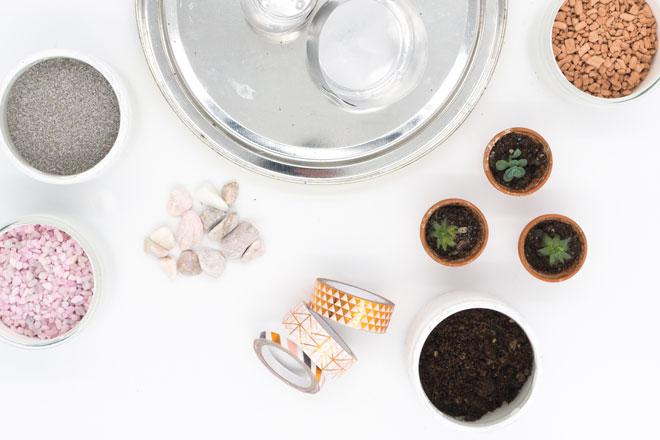 Minigarten basteln mit Teelichtern, Material Upcycling mit Washi Tape