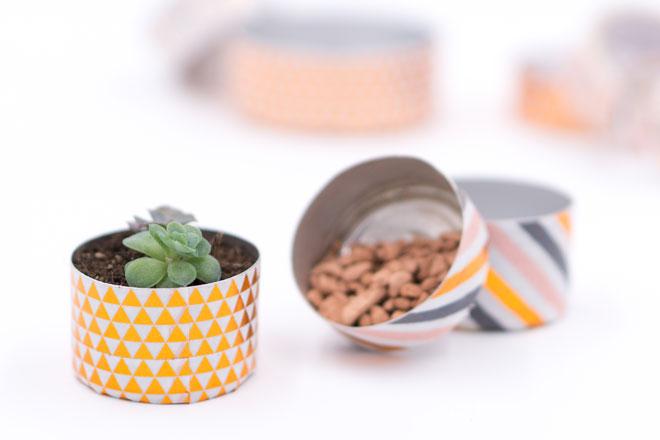 Minigarten basteln mit Teelichtern, Ein neues Zuhause für Mini-Sukkulenten