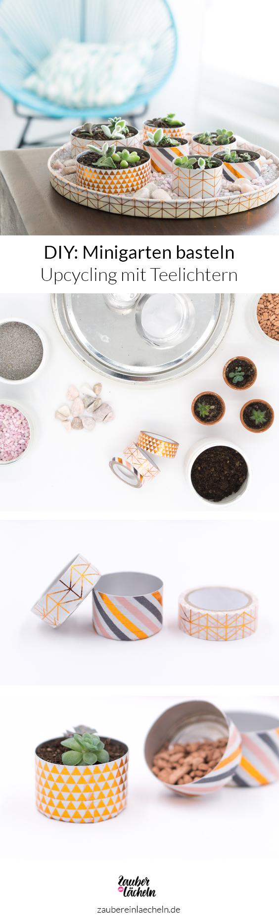DIY-Idee: Minigarten basteln mit Teelichtern mit Schritt für Schritt Anleitung. Einfaches Upcycling Projekt mit Teelichtern und Washi Tapes mit Bildern erklärt. Ein toller Minigarten für winzig kleine Sukkulenten zum Verlieben.