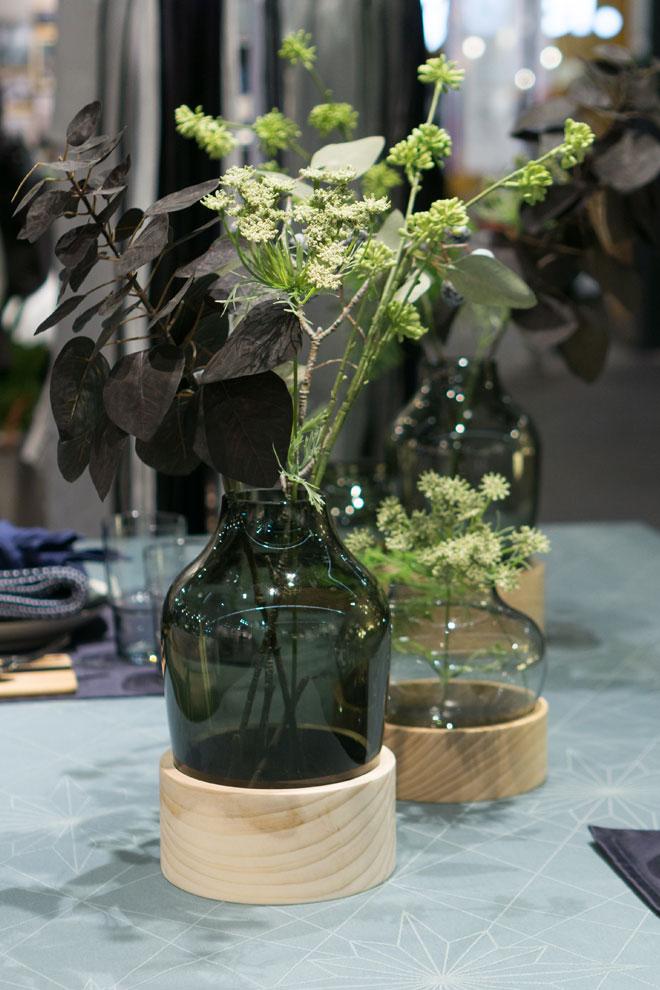 Pflanzen Deko 2018 auf der Ambiente, schlichte Pflanzen in Vasen als Tischdeko, von Georg Jensen Damask