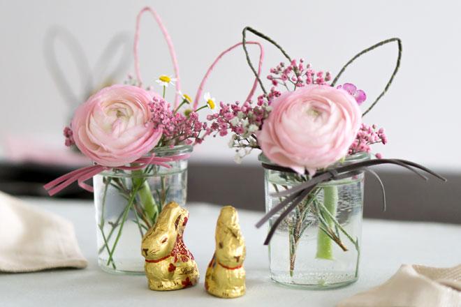 DIY | Einweckgläser mit Hasenohren und Schnurrbarthaaren Tischdeko für Ostern