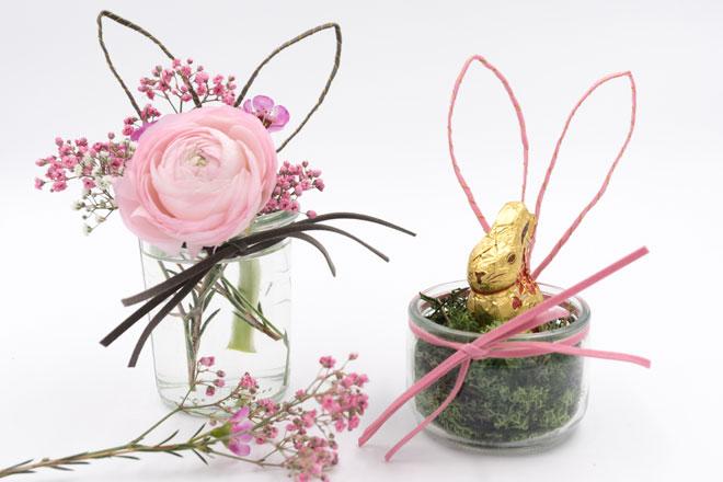 Tischdeko für Ostern: Einweckglas mit Hasenohren und Schnurrbarthaaren Anleitung
