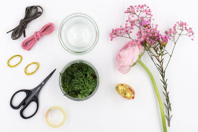Tischdeko für Ostern: Einweckglas mit Hasenohren und Schnurrbarthaaren Material