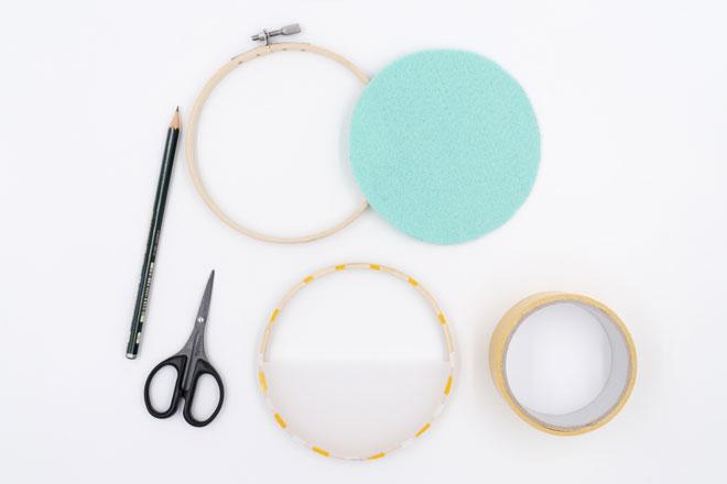 DIY-Idee, Wanddeko selber machen Stickrahmen mit Transparentpapier bekleben