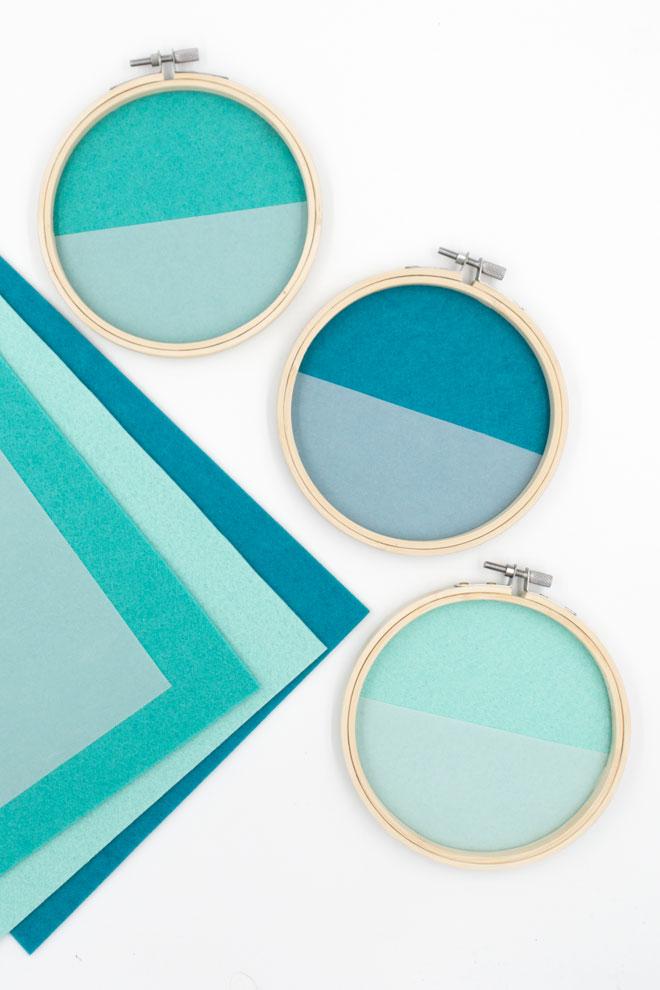 DIY-Idee, Wanddeko selber machen mit Filz im Stickrahmen