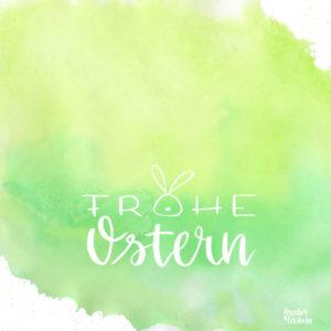 Ostergrüße versenden mit der Karte Osterhasen-Lettering in frischem Grün.