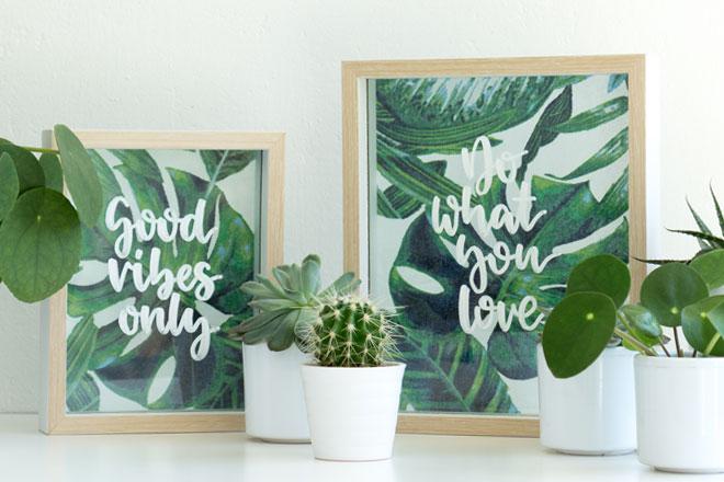 DIY-Idee, Tropical Vibes meets Lettering: Bilderrahmen dekorieren mit Stoffbild und Schrift