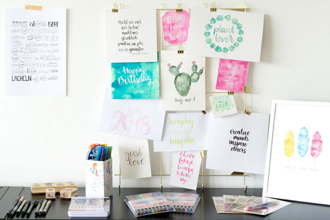 Beispiele mit Handlettering, Brushlettering und Stifte zum Testen für meinen ersten Lettering Workshop