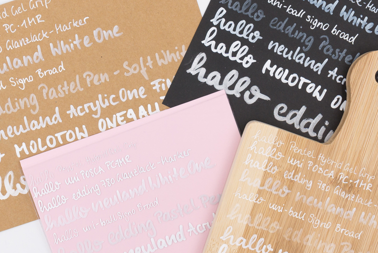 Weiße Lettering Stifte im Guide unterschiedliche Stifte für unterschiedliche Materialien geeignet