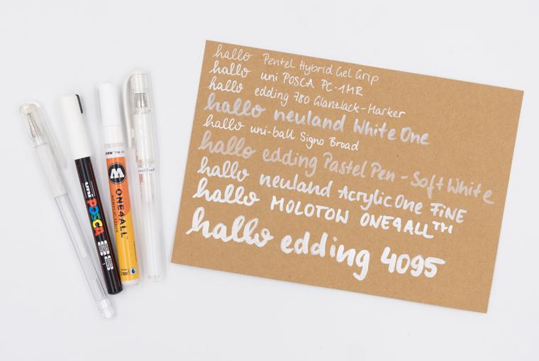 Weißer Stift auf Kraftpapier: Meine Favoriten im Lettering Stifte Guide