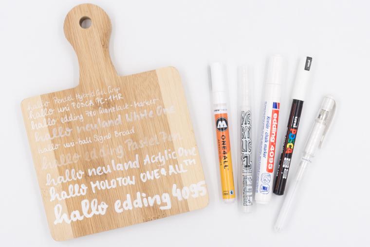 Favoriten weißer Stift für Holz im Lettering Stifte Guide