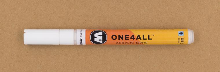 Ein Guide für weiße Lettering Stifte, MOLOTOW ONE4ALL™ 127HS, 2 mm