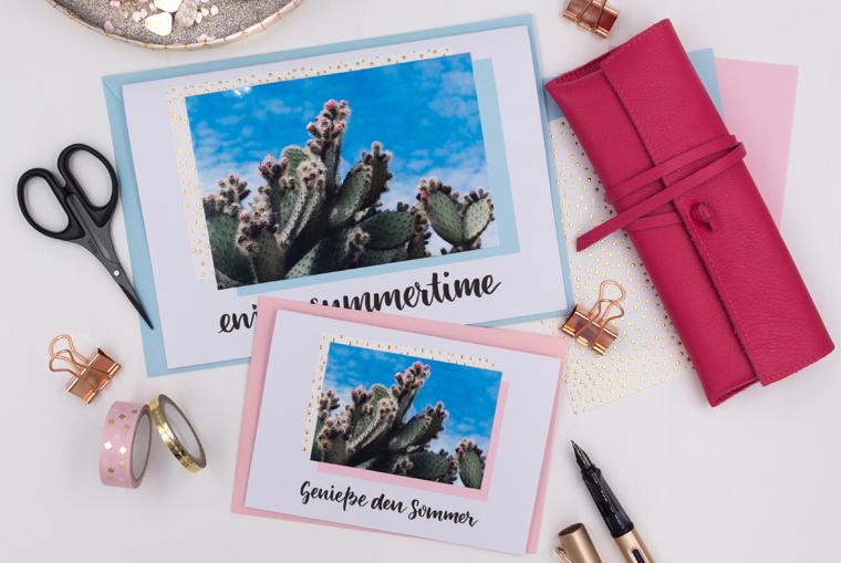 DIY-Idee Karten gestalten: Verschickt doch mal Sommergrüße mit Lettering-Vorlage und Kakteen-Foto zum Ausdrucken
