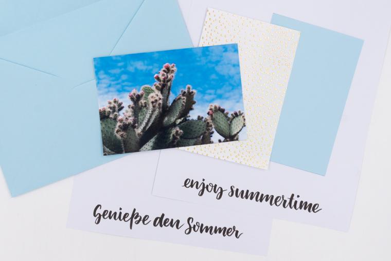 Eine schöne DIY-Idee Karten gestalten in DIN A5 mit Lettering Vorlage und Foto zum Ausdrucken
