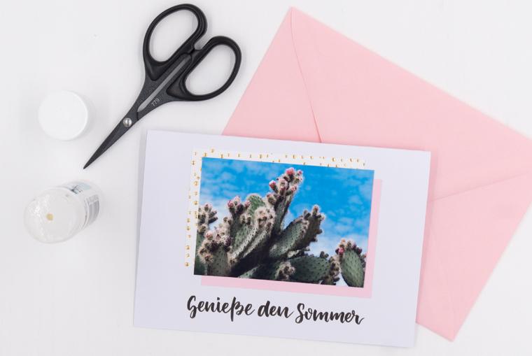 Karten gestalten, DIY-Anleitung für Sommergrüße mit Lettering-Vorlage und Foto zum Ausdrucken