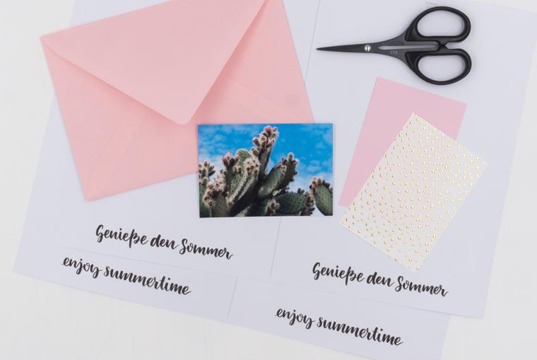 DIN A6 Karten gestalten mit der Lettering-Vorlage Genieße den Sommer oder enjoy summertime