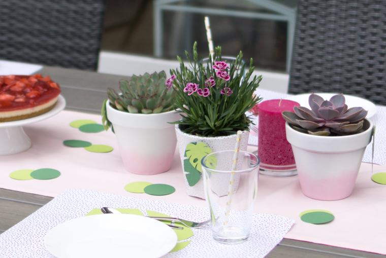 Party Deko in den Farben Rosa, Pink und Grün mit goldenen Akzenten