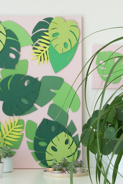 DIY | Sommer Deko: Tropische Blätter auf Leinwand