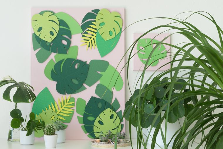 Sommer Deko: Tropische Blätter auf Leinwand eine DIY-Idee mit Anleitung und Vorlage zum Ausdrucken