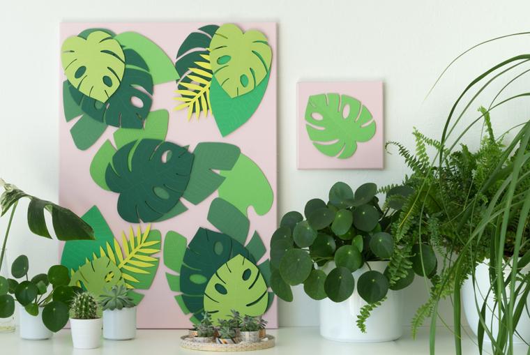 Sommer Deko auf großer und kleiner Leinwand - ein toller Kontrast Rosa und Grün