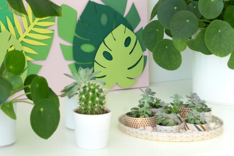 Sommer Deko: Tropische Blätter auf rosa Leinwand