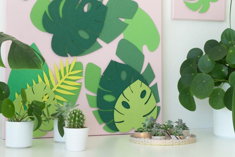 Blätter auf rosafarbener Leinwand eine Sommer Deko Idee zum selber machen