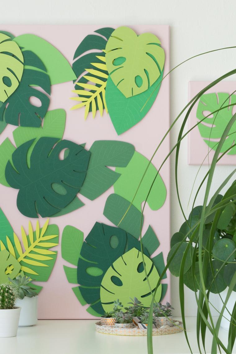 Sommer Deko: Tropische Blätter auf großer und kleiner Leinwand