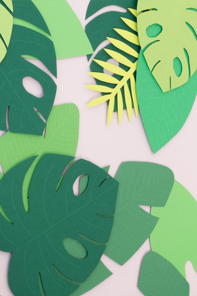 Sommer Deko die tropischen Blätter sind in einem 3D-Look auf die Leinwand aufgeklebt