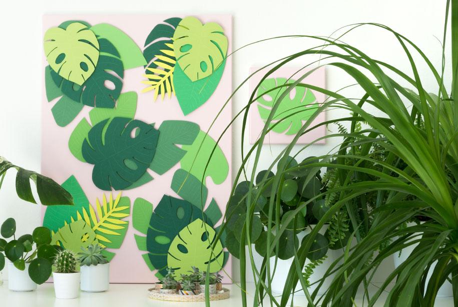 Sommer Deko: Tropische Blätter Vorlage - Auf Leinwand Selber Machen