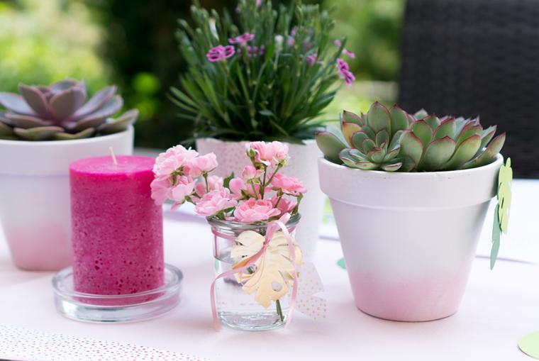 Tischdeko Vasen für Tropical Vibes Party selber machen