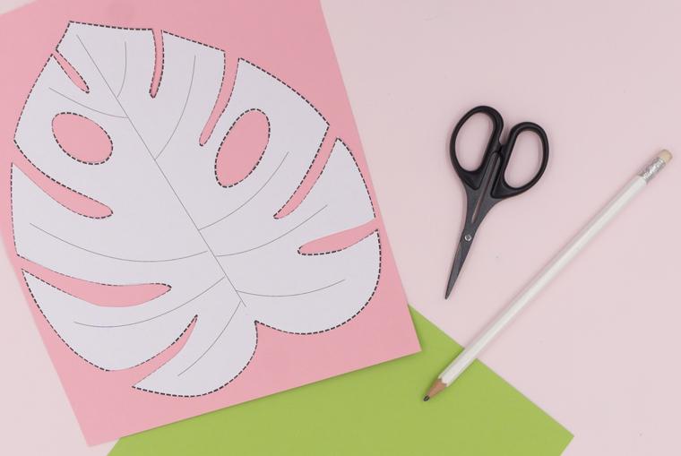 Anleitung Tischsets Tropical Vibes Monstera Blätter Vorlage übertragen und zuschneiden