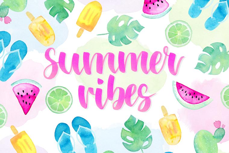 Summer Vibes Motiv mit Aquarellzeichnung und Brushlettering