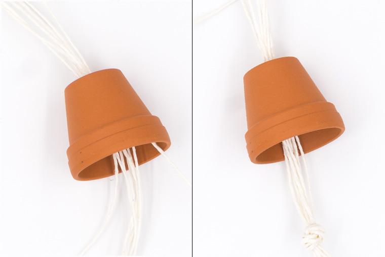 Mini Pflanzenhänger basteln mit Tontöpfen und Küchengarn