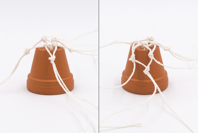 Verknoten von Küchengarn für Mini-Pflanzenhänger