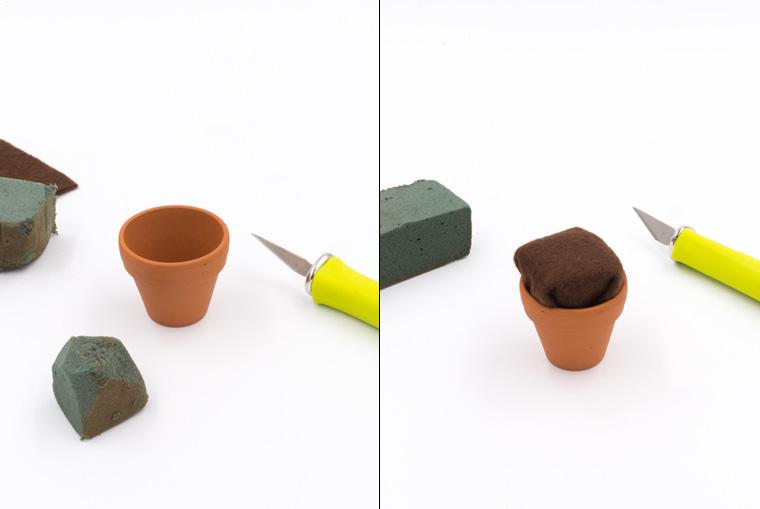 Mini-Tontöpfe füllen mit Filz und Trockensteckmasse