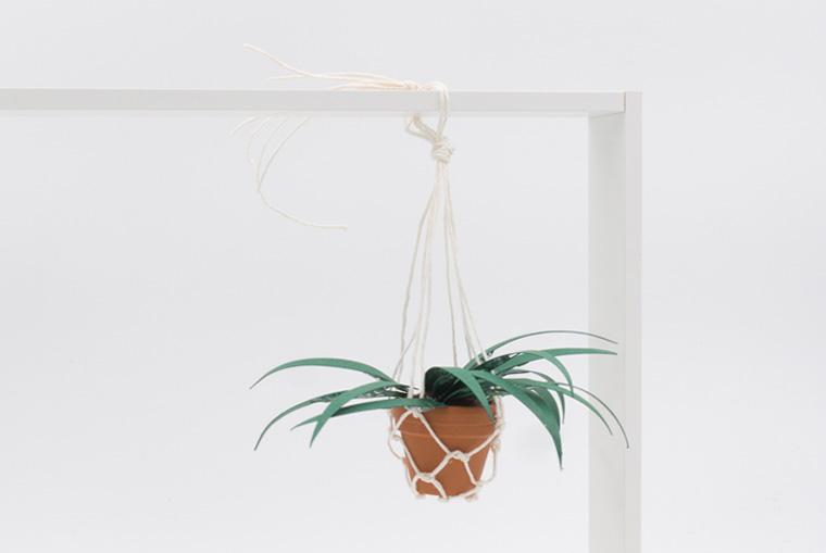 Gebastelten Mini-Pflanzenhänger an Bilderrahmen anbringen