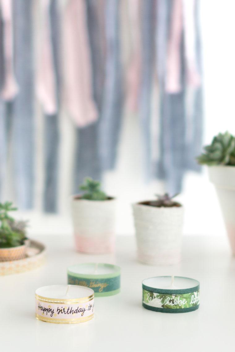 Teelichter mit beschriftetem Washi Tape ein schnelles Mitbringsel