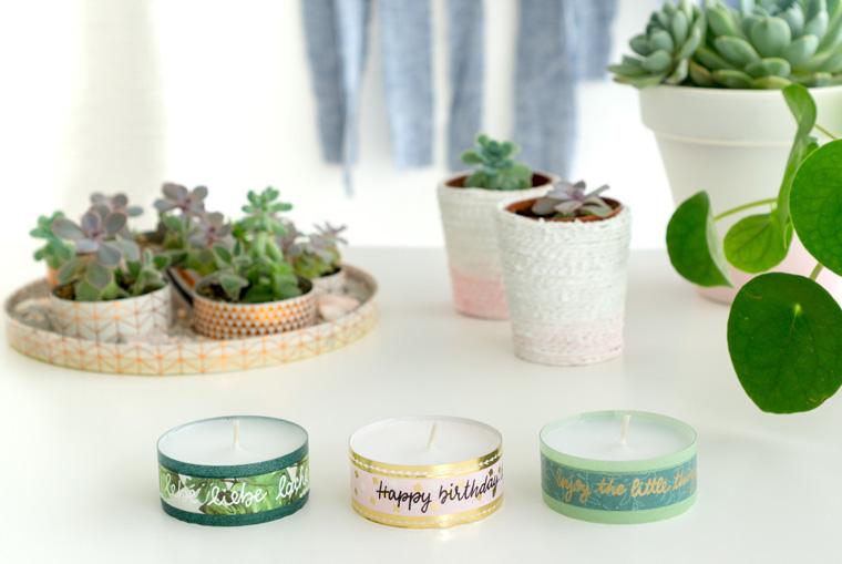 Drei beletterte Teelichter mit Washi Tape