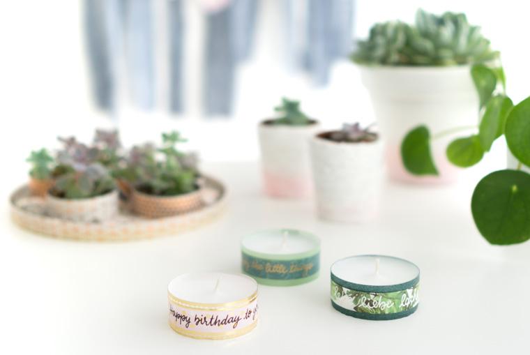 Washi Tape belettern und damit Teelichter bekleben - ein einfaches Mitbringsel selber machen