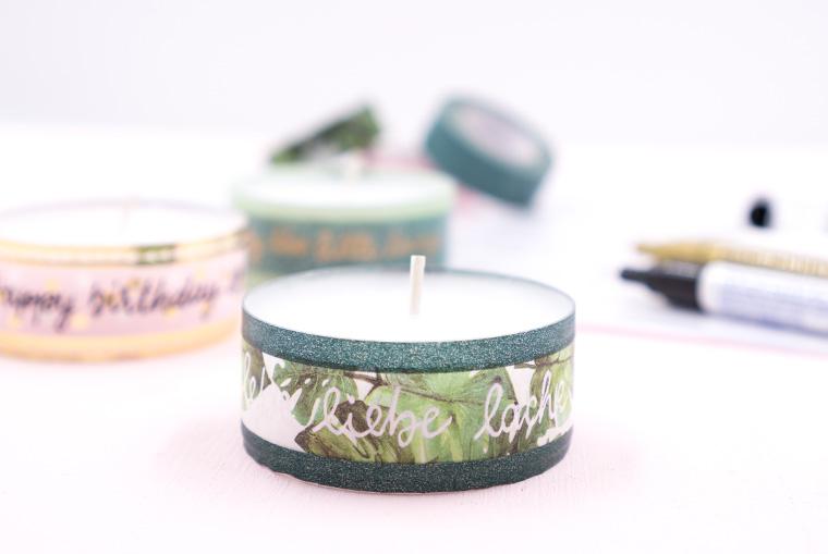 Teelichter mit belettertem Washi Tape bekleben