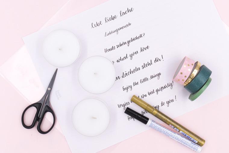 Teelichter mit Lettering: Washi Tape beschriften