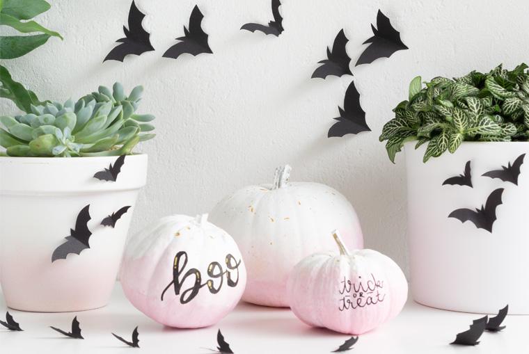 Papier-Fledermäuse als schnelle Halloween Deko